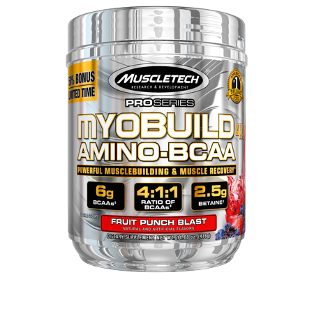 Pro Series Myobuild BCAA Amino Acids Supplement, Muscle Building and Recovery Formula with Betaine & Electrolytes, Fruit Punch Blast, 36 Servings
