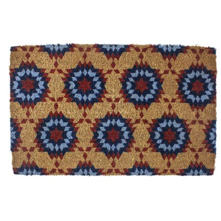 Entryways Basics 9114W 22 x 35 in. Williamsburg Star Quilt Hand Woven Coconut Fiber Doormat, Blue & Red - image 1 of 1