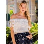 Women's Junior Ladies Cute Must Have Stylish Off Shoulder Crochet Elastic Waist Solid White Blouse Crop Top 40213X