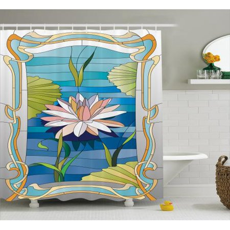 Art Nouveau Shower Curtain Lotus On The Water Baroque Avant Garde Stylized Classic Architecture Pattern Fabric Bathroom Set With Hooks Multicolor