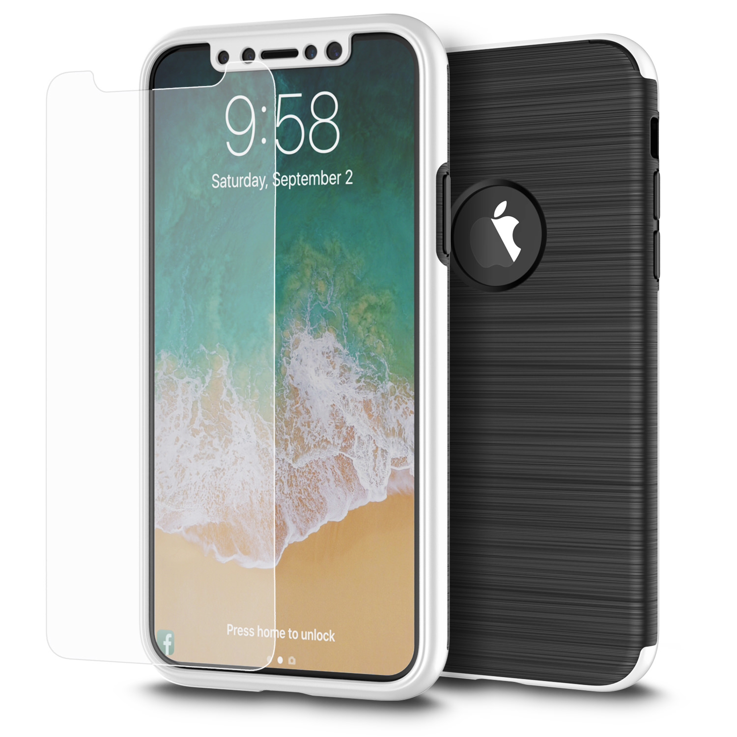 MUNDAZE Silver 360 Degree Full Body Brushed Metal Case For Apple iPhone X Phone
