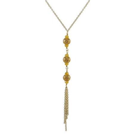 Gold Plated Brass 8 mm Ball & 4 mm Honey Semi Precious Stone Tassel Style Necklace with Gold Plated Brass Chain, 16 in.