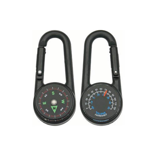Explorer Black Carabiner Compass and Thermometer Multi-Colored