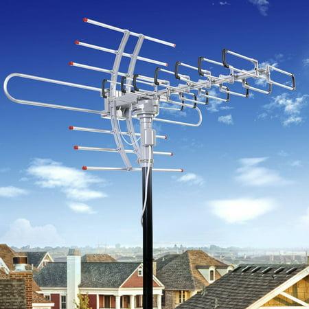 - Outdoor Amplified Digital 1080p HDTV HD Rotor TV Antenna Remote 360 Rotation UHF