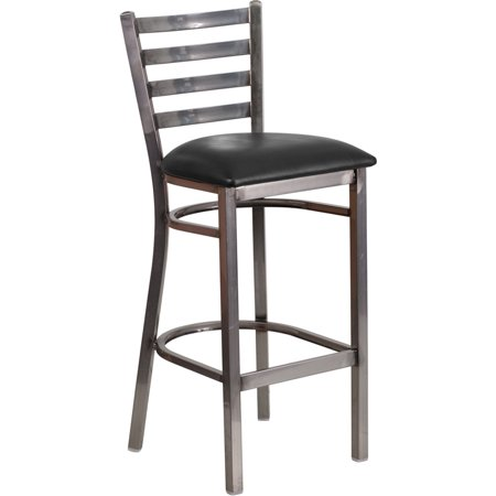 Clear Coated Metal Ladder Back Barstool, Black Vinyl Seat