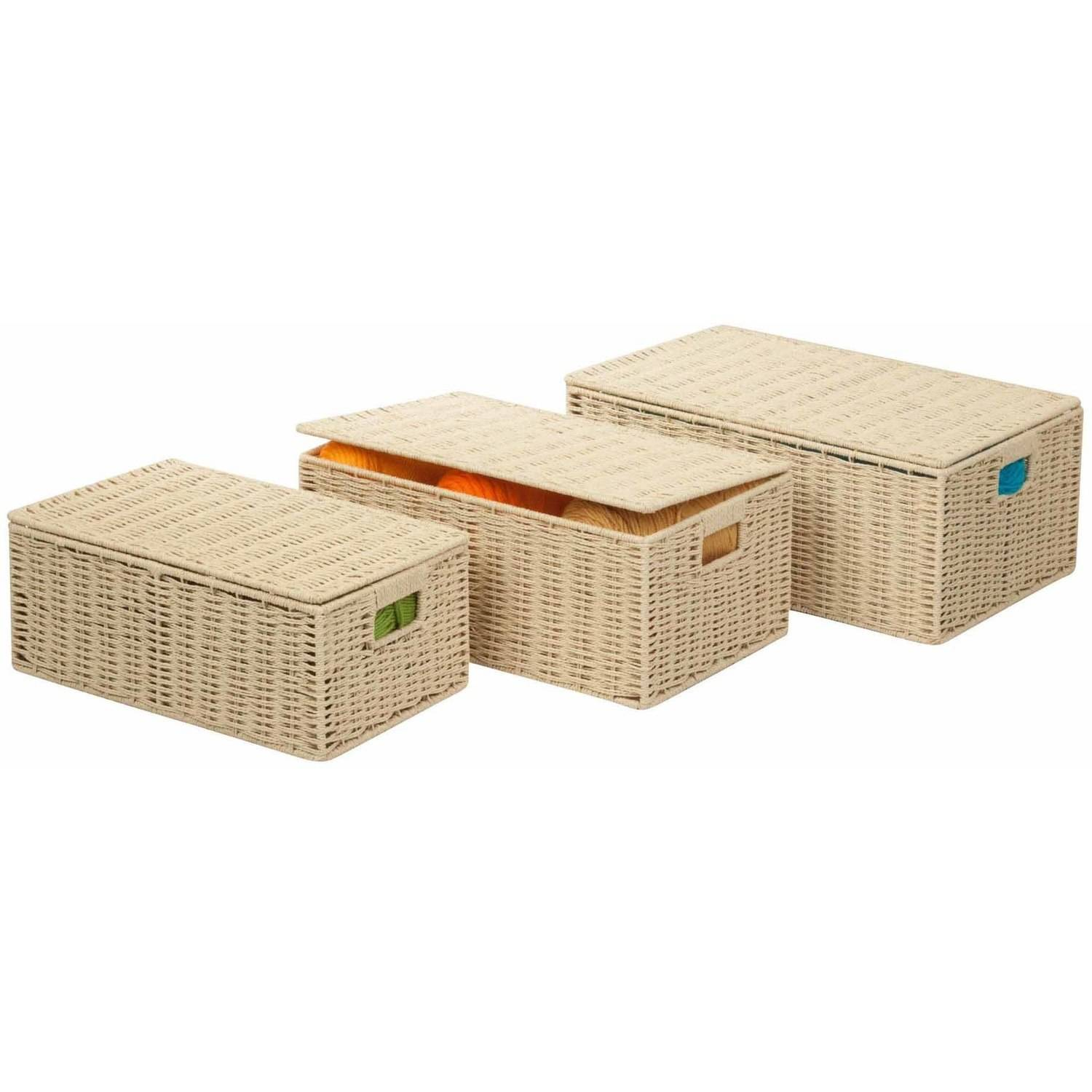 Charmant Honey Can Do Paper Rope Storage Baskets With Lids, Multicolor (3 Piece Set
