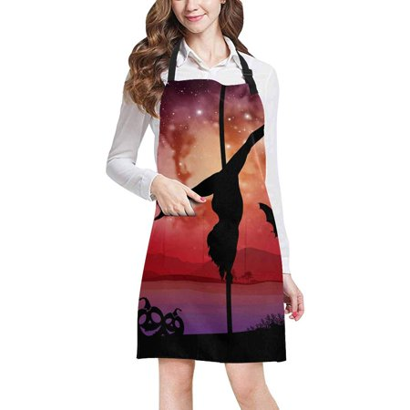 Restaurant Story Halloween Edition (ASHLEIGH Pole Dancer in Galaxy Space Background with Halloween Elements Adjustable Bib Apron with Pockets Commercial Restaurant and Home Kitchen Apron for Women)