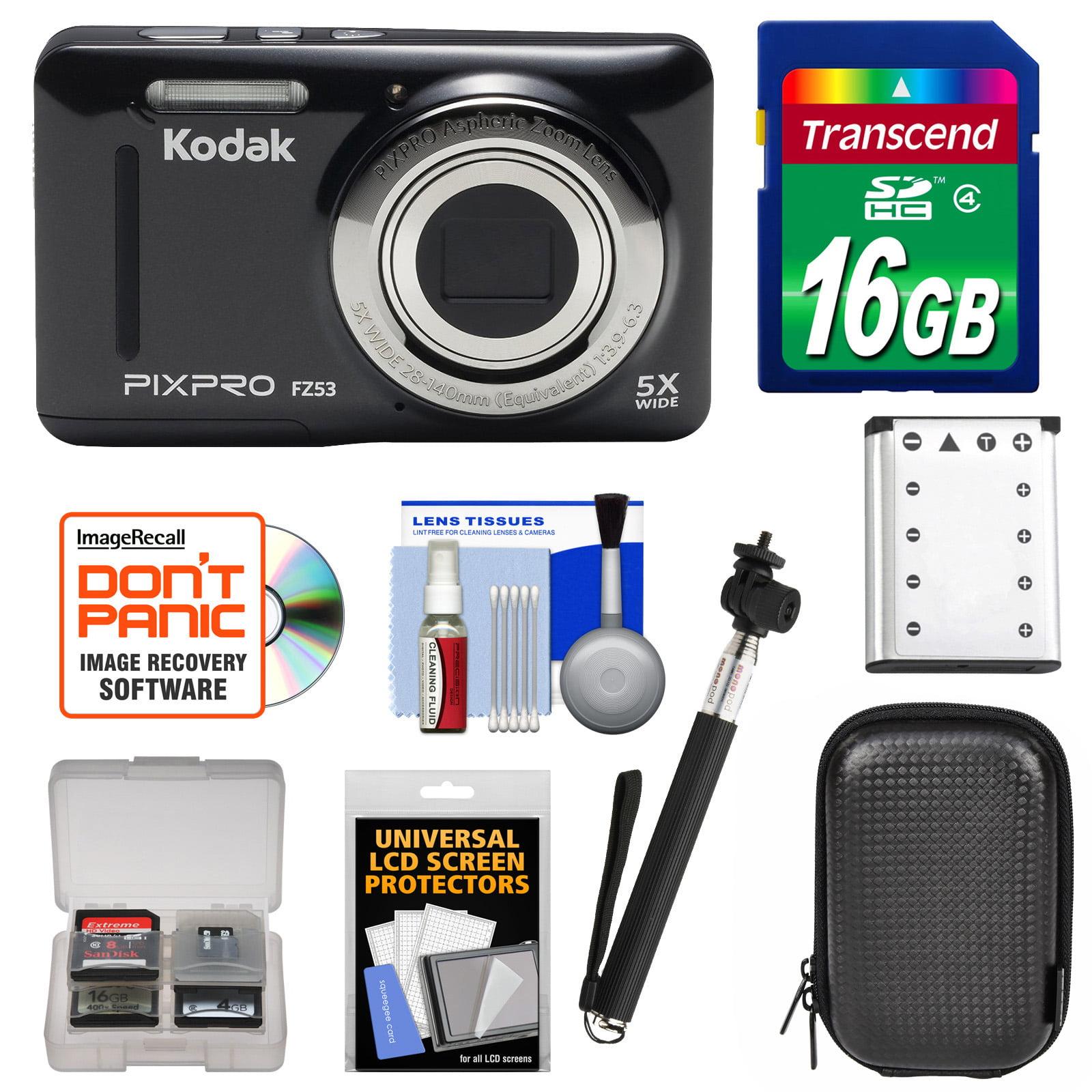 KODAK PIXPRO Friendly Zoom FZ53 Digital Camera (Black) with 16GB Card + Battery + Case + Selfie Stick + Kit