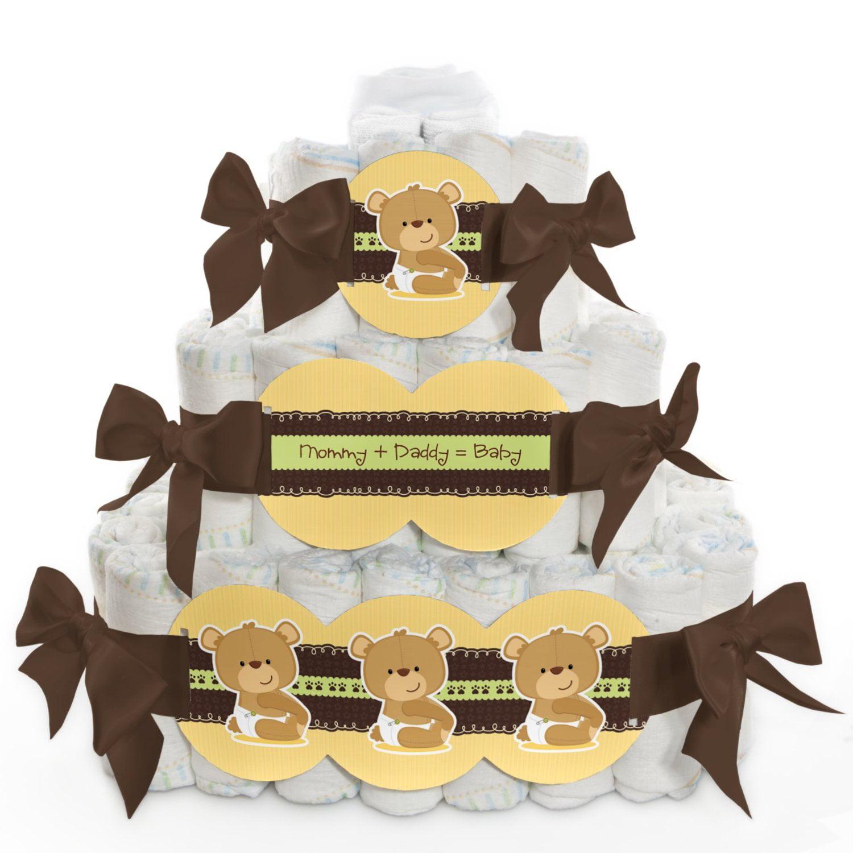 Baby Diaper Cake - Baby Teddy Bear - 3 Tier