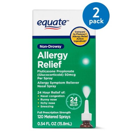 (2 Pack) Equate Non-Drowsy Allergy Relief Nasal Spray, 50 mcg, 0.54 (Best Otc For Runny Nose)