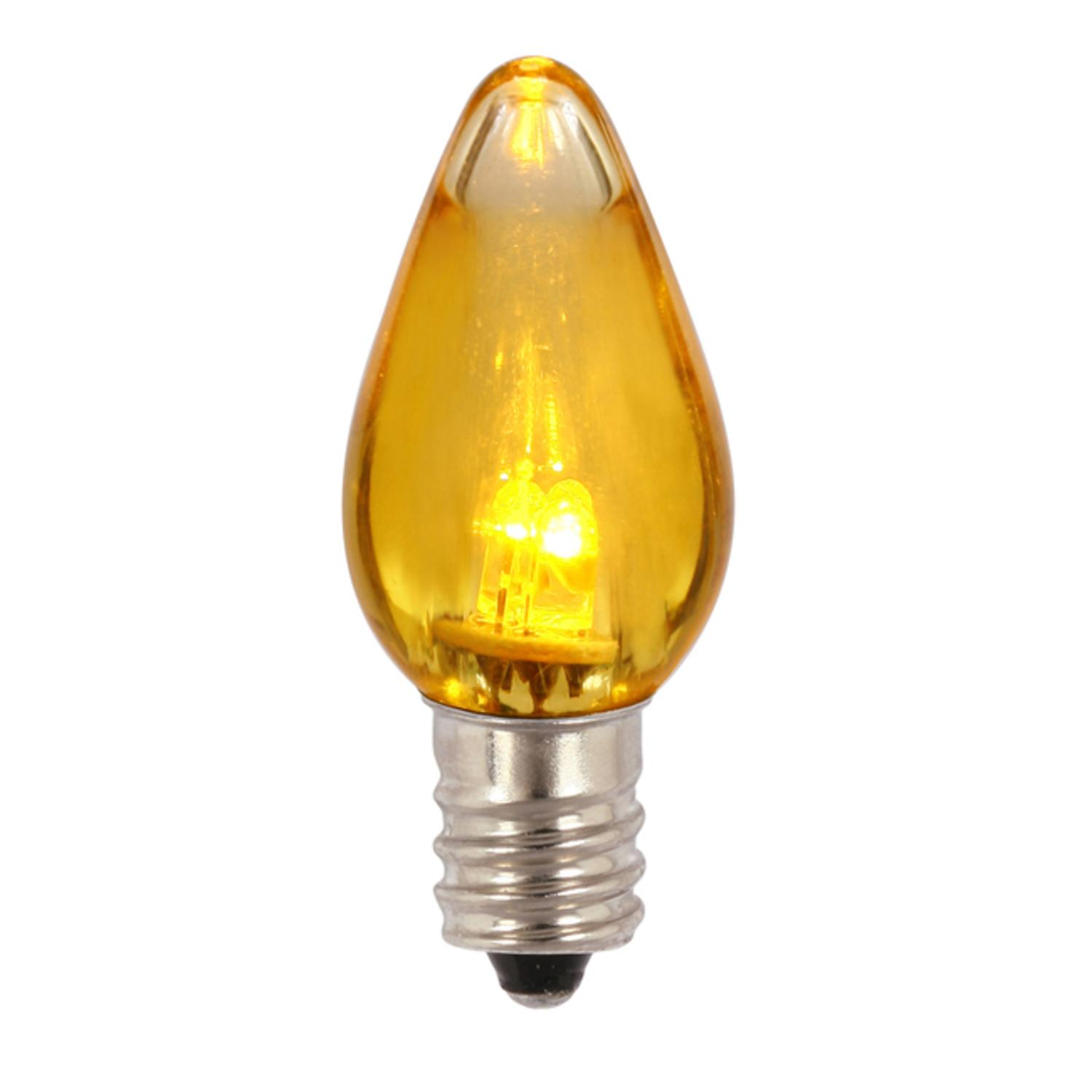 Club Pack of 25 Yellow Amber LED Transparent C7 Christmas Replacement Bulbs