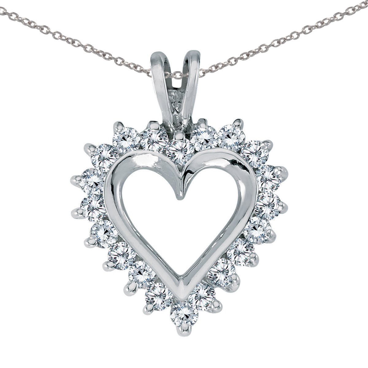 """14K White Gold Diamond Heart Pendant with 18"""" Chain by"""