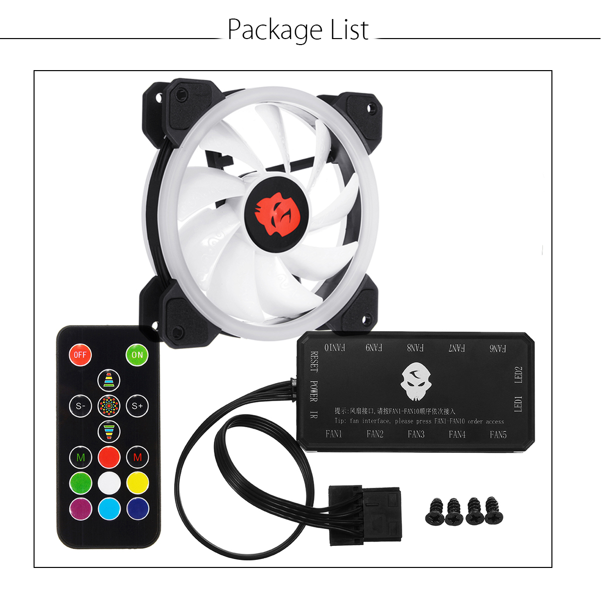 Computer Case PC RGB Cooling Fan Adjust LED 120mm Quiet Cooler + Remote Control