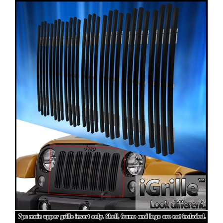 Fits 2007 2014 Jeep Wrangler Vertical Style Stianless Steel Black Billet Grille