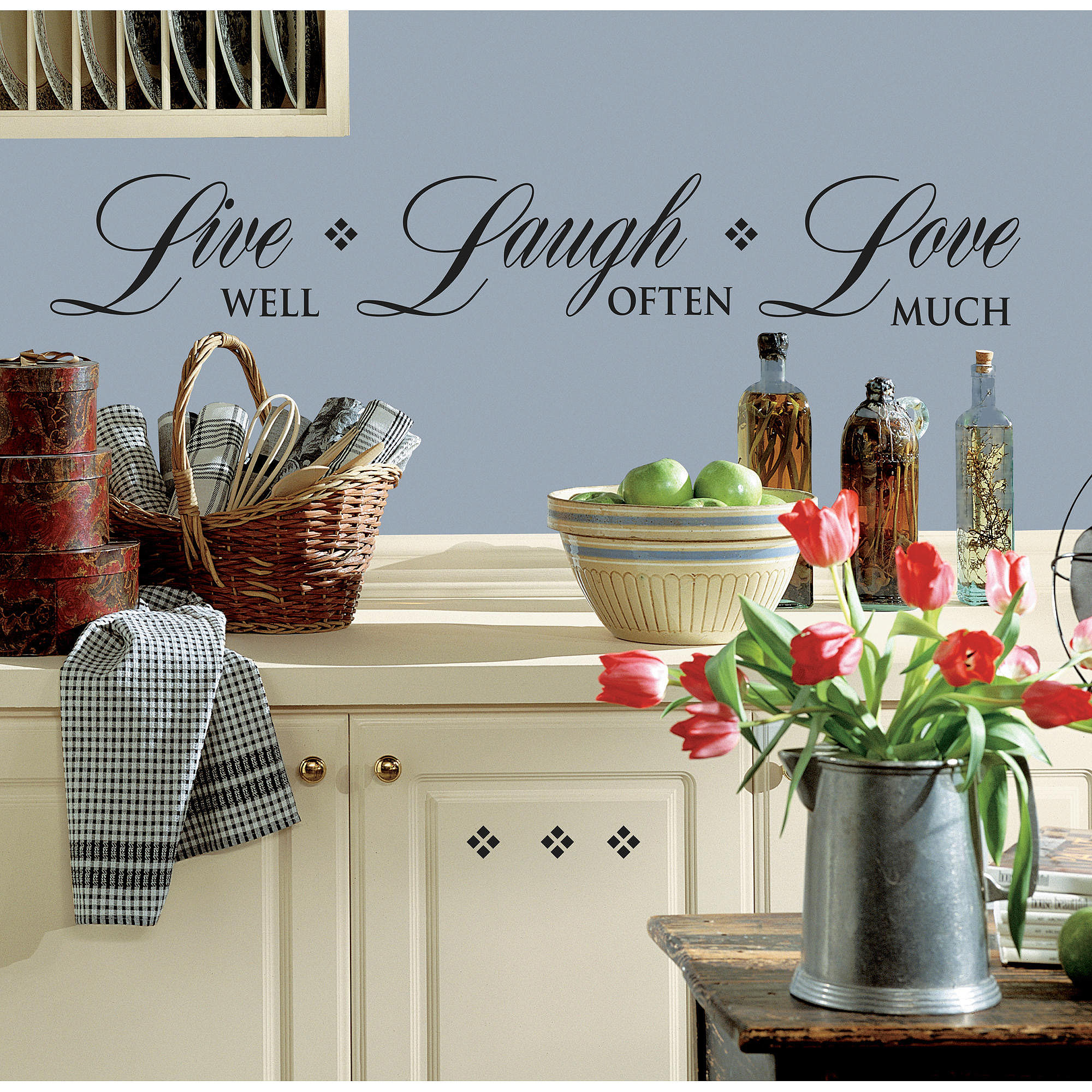 RoomMates Live Well, Laugh Often, Love Much Peel and Stick Wall Decals, Single Sheet