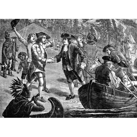 Penn Arrives At New Castle Nwilliam Penn  1644 1718  Founder Of The Colony Of Pennsylvania Arriving At New Castle On The Delaware River 27 October 1682 Wood Engraving 1882 Rolled Canvas Art     24 X 3