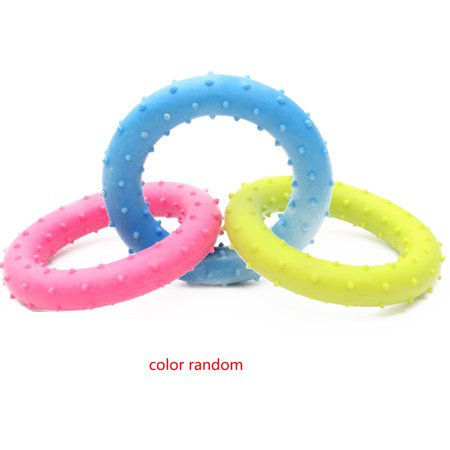 Random Color Pet Dog Toys Cute TPR Round Toy Rubber Resistant Barbed Bite Clean Teeth Chew Training Interactive Toy (Round Dog Toys)