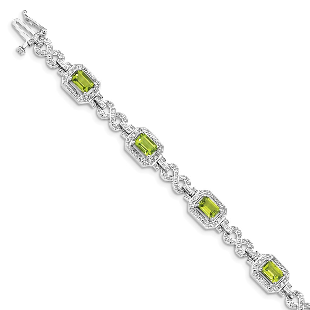 """925 Sterling Silver Simulated Peridot Bracelet -7.5"""" (7in x 3mm) by"""