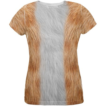 Halloween Orange Cat Costume All Over Womens T Shirt (Halloween Cat Print Out)