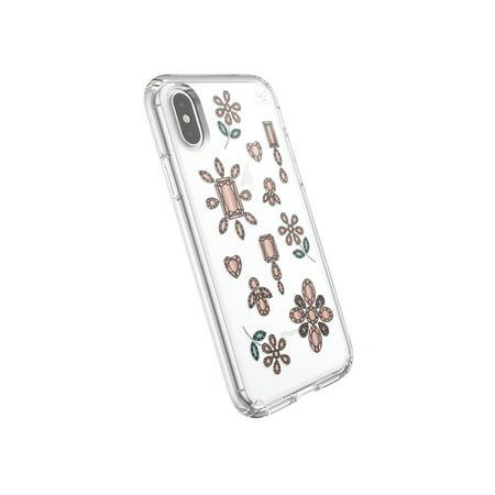 Speck Presidio Clear Plus Print iPhone XS Max Dancing Diamonds Peach Gold Clear 117113-7556