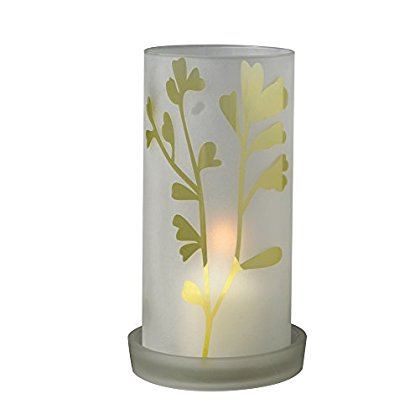 Biedermann & Sons Glass Frost Leaf Hurricane Candle -