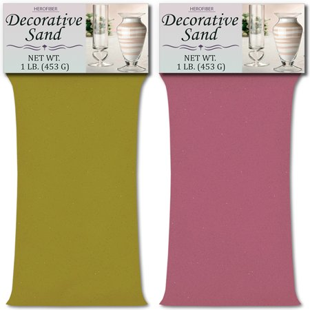 HeroFiber Colored Unity Sand (2 lbs.) - Lime Yellow and Lavender - 1 lbs. per Color - Decorative Art Sand for Weddings, Vase Filling, Kids' Craft Play ()