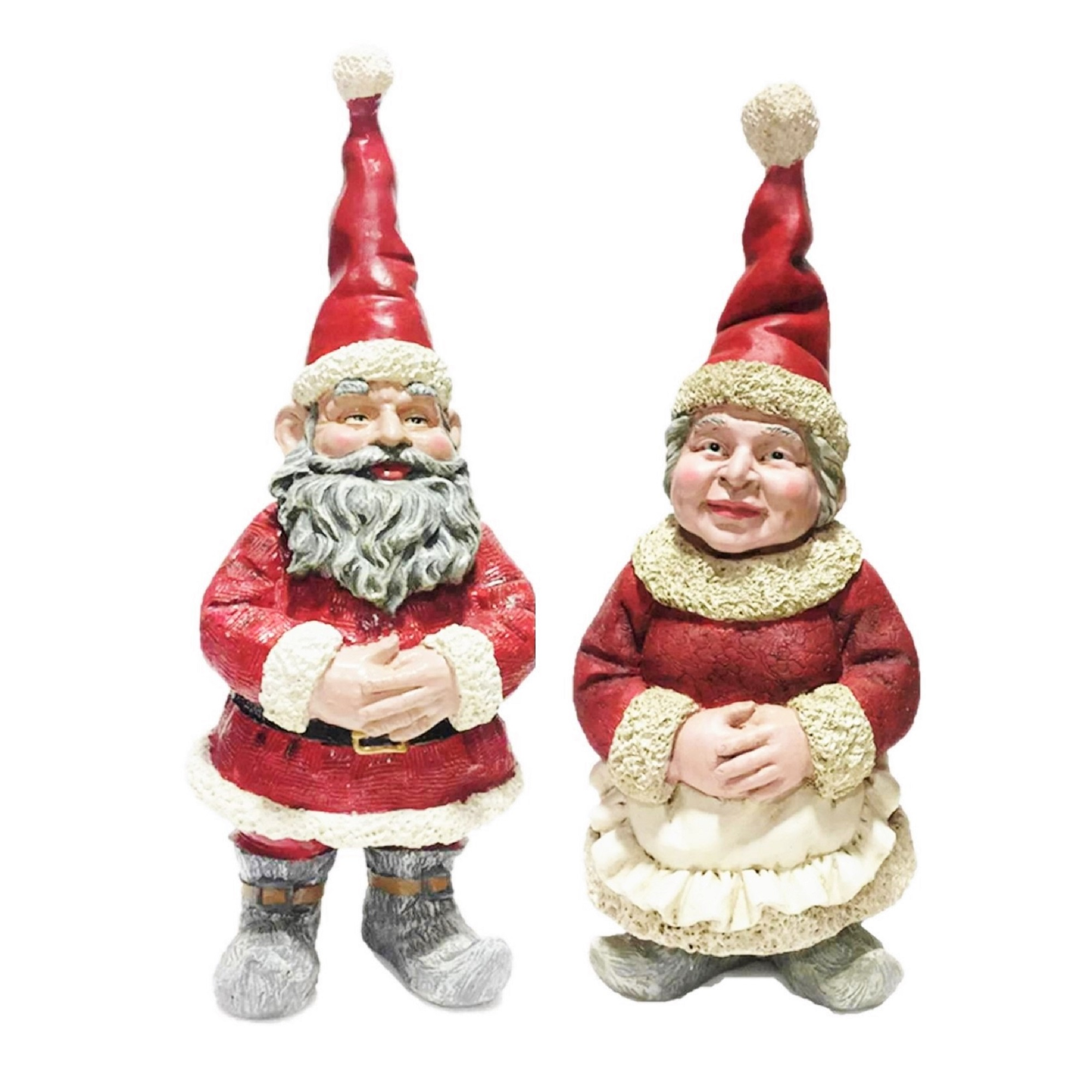Homestyles Christmas Santa Claus & Mrs. Claus in Santa Suit and Holiday Cooking Apron Garden Gnome Statue by GSI Homestyles