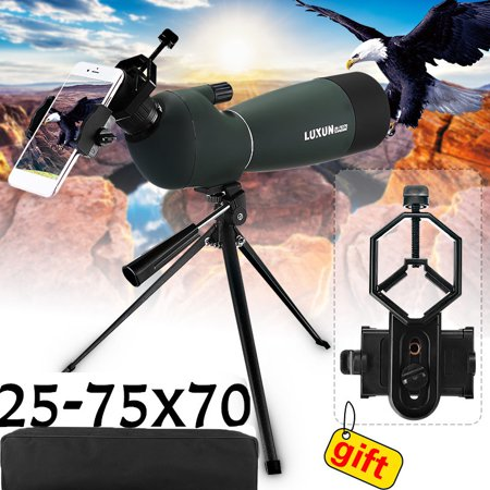 Day/Night Vision 25-75X70 Zoom HD Monocular Spotting Scope BAK4 Telescope with Tripod + Phone Adapter + Bracket (Best Target Spotting Scope)