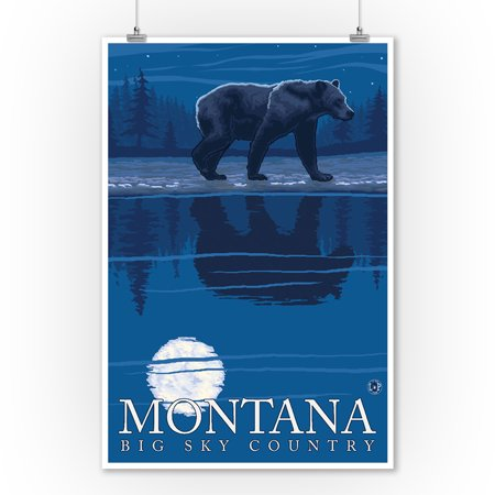 Montana, Big Sky Country - Bear in Moonlight - Lantern Press Original Poster (9x12 Art Print, Wall Decor Travel - Sky Lanterns In Store