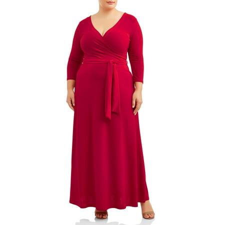 Plus Size Cinderella Dress (Ella Samani Women's Plus Size 3/4 Sleeve Classic Wrap)