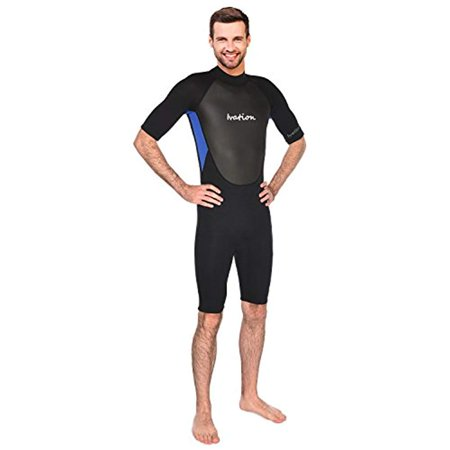 5d510e37f0 Ivation 3mm Short Wetsuit for Adult - Crafted of Premium Neoprene &  Features High - Quality Zipper & Full UV Protection- Blue, Large