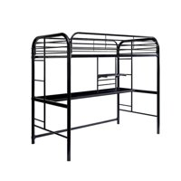 Benzara BM187270 Metal Frame Twin Size Loft Bed with 2 Attached Ladders, Black - 69.25 x 41.75 x 78.38 in.