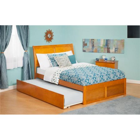 Portland Twin Bed with Flat Panel Footboard and Urban Trundle in an Espresso Finish