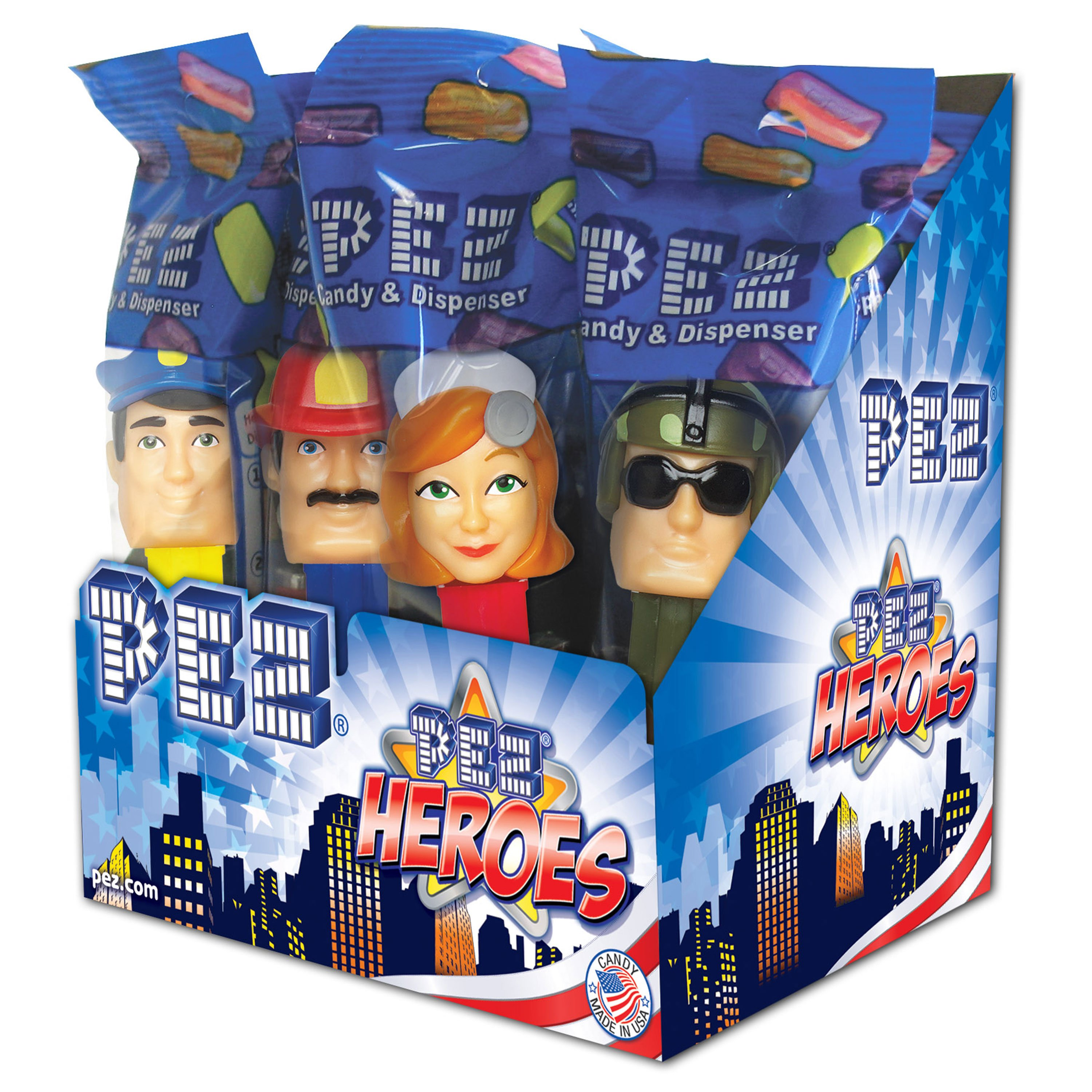 PEZ Candy PEZ Heroes Assortment, candy dispenser plus 2 rolls of assorted fruit candy, box of 12