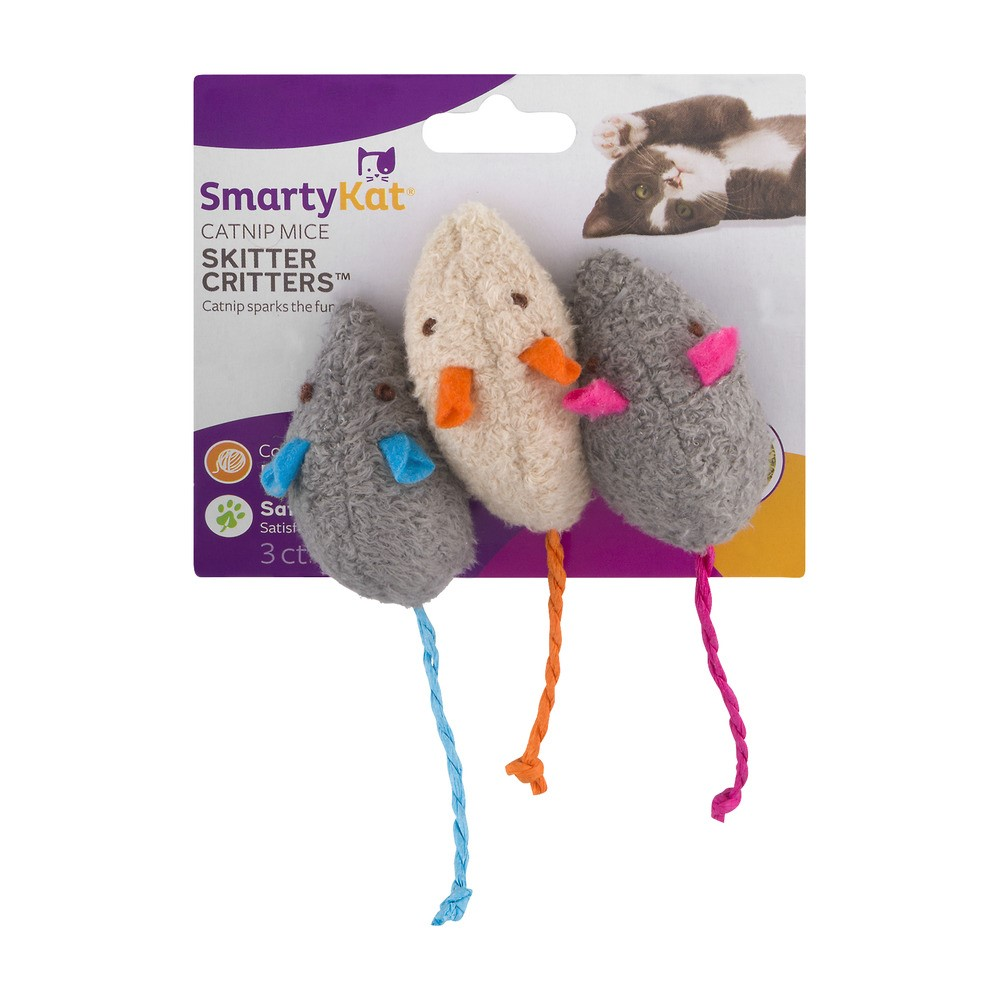 SmartyKat® Skitter Critters™ Mice, Set of 3 Catnip Cat Toys