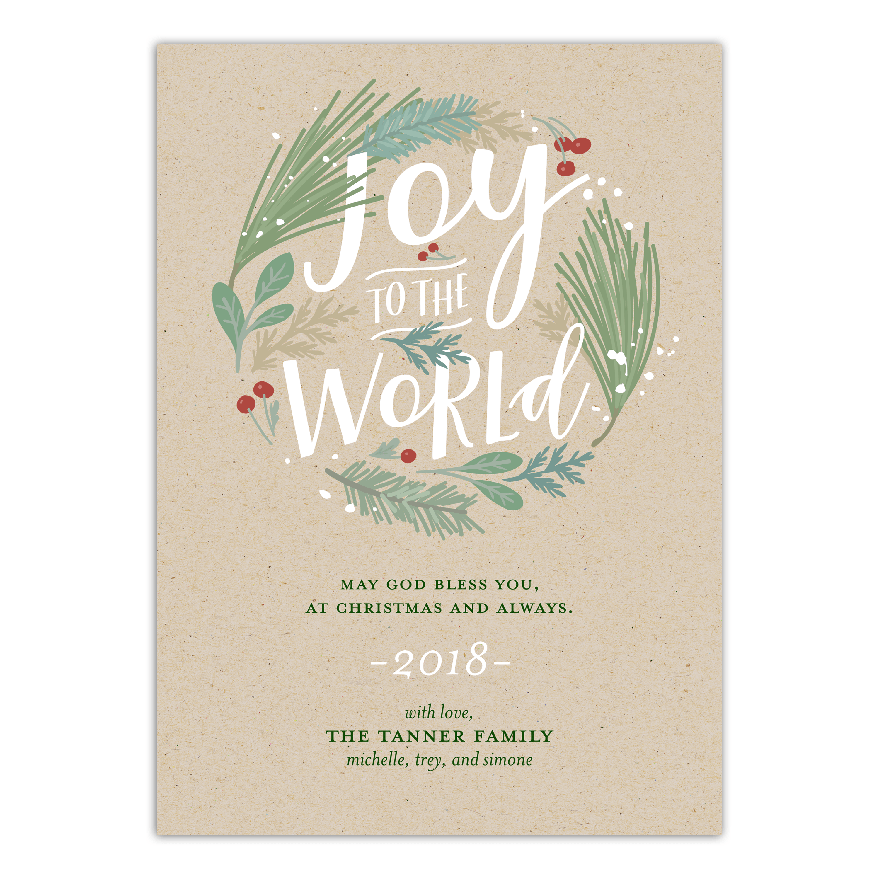 Personalized Holiday Non-Photo Card - Great Joy