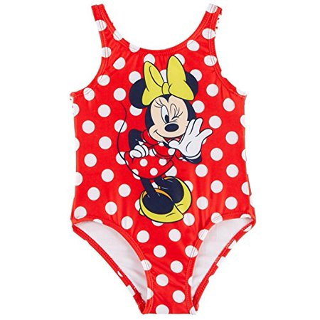 Minnie Mouse Disney Toddler Girls Dots Swimsuit Back Cutout With a Bow Accent Swim Wear Swimsuit With UPF 50 Sun Protection (4T)](Disney Swimwear Girls)