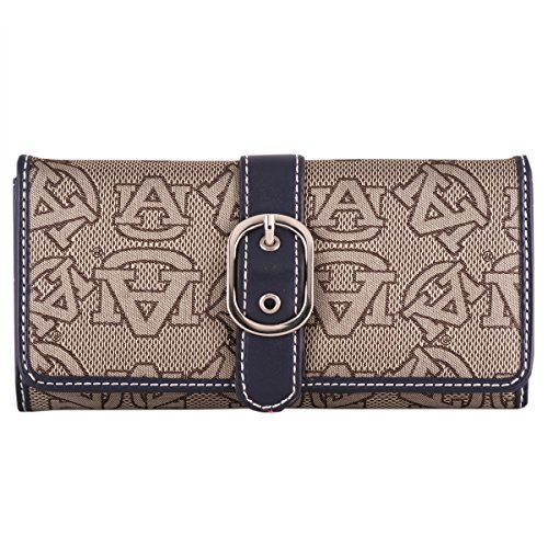 Auburn Tigers Navy Blue Leather and Brown Jacquard Fabric Ladies Wallet