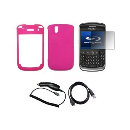 9630 Lcd (Hot Pink Snap-On Hard Cover Case + LCD Screen Protector + Rapid Car Charger + USB Data Sync Charge Cable for Blackberry Tour 9630 )