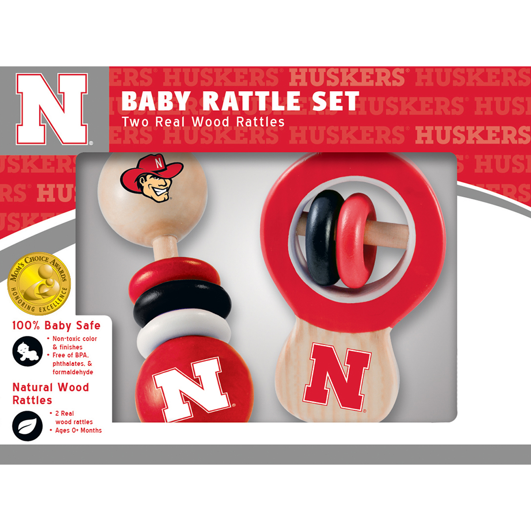 Nebraska Real Wood Baby Rattles (2-Pack) by MasterPieces
