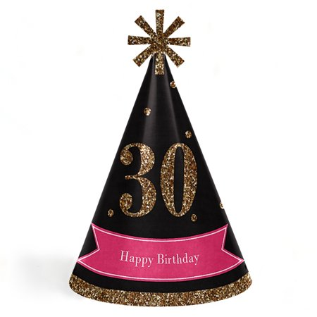 Chic 30th Birthday - Pink, Black and Gold - Cone Birthday Party Hats - Set of 8 (Adult Size)](Black Birthday Party Hats)