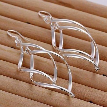 ON SALE - Sterling Silver Interlocking Diamond Spirals Earrings (Long Spiral Earrings)