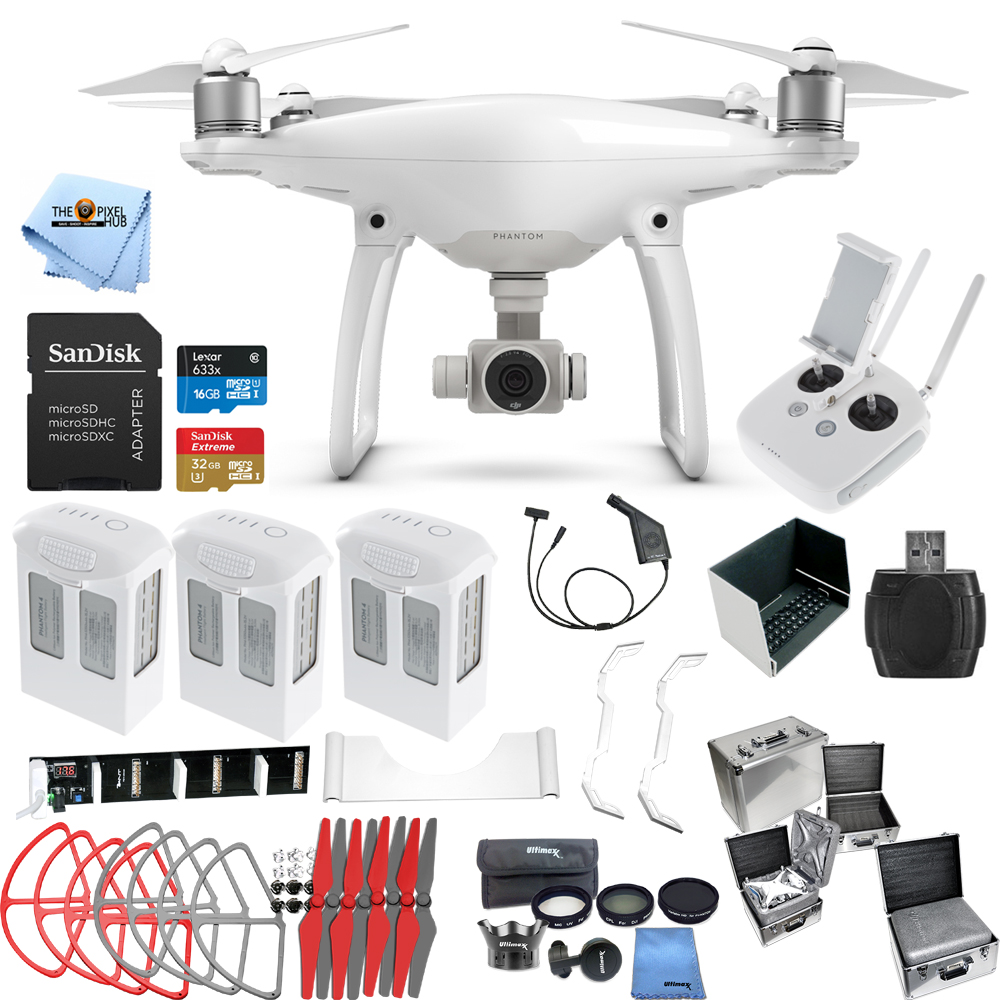 DJI Phantom 4 Drone W/ 4K Camera MEGA 3 BATTERY EVERYTHING YOU NEED BUNDLE! NEW!