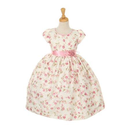Cinderella Couture Big Girls Pink Floral Jacquard Corsage Easter Dress 8