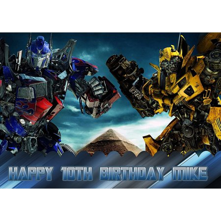 Transformers Optimus Prime Bumblebee Birthday Cake Personalized Cake Toppers Edible Frosting Photo Icing Sugar Paper A4 Sheet 1/4 PR2578