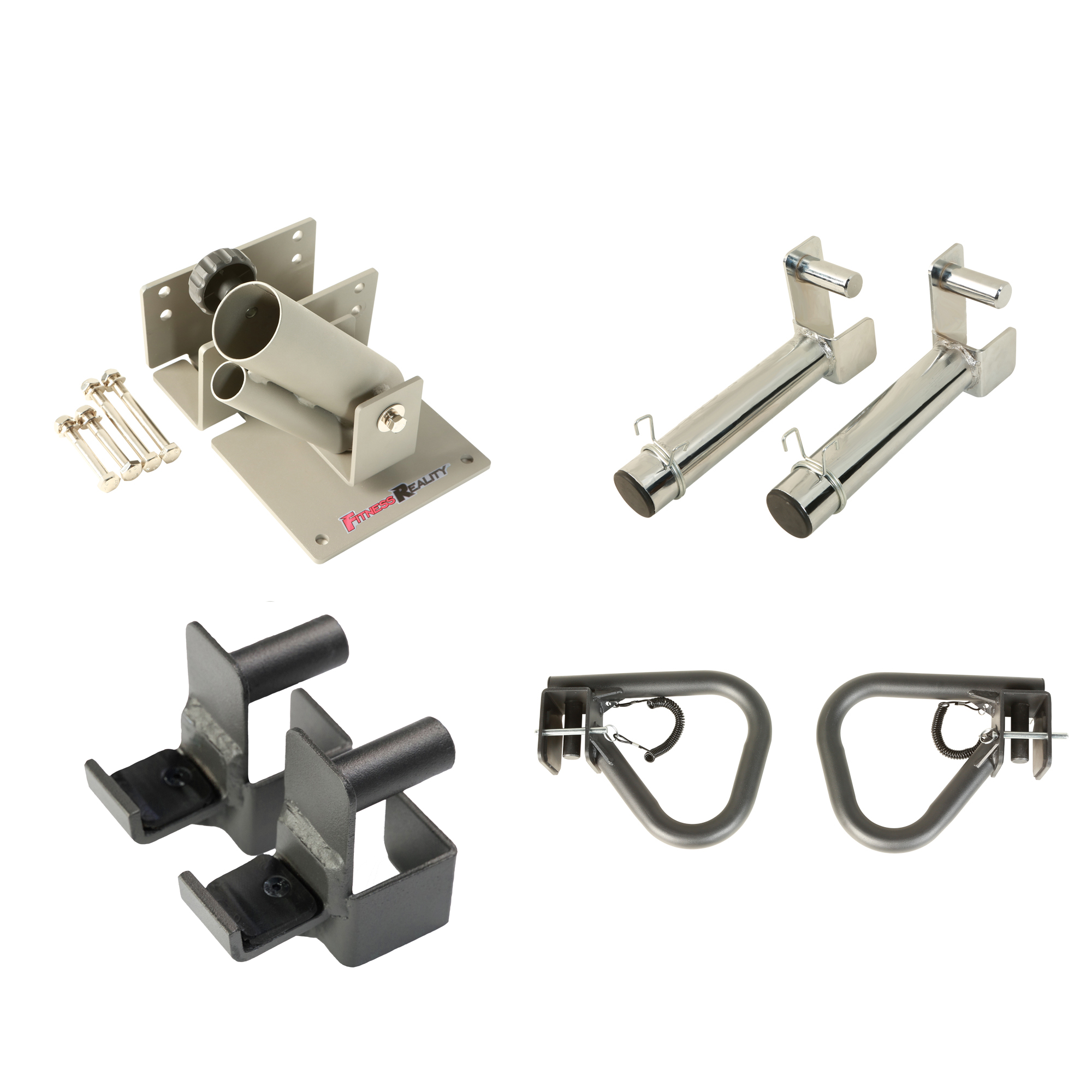 FITNESS REALITY Attachment Set for 2x2 Steel Tubing Power Cages, Includes Landmine, Olympic Plate Holder, 2 J-Hooks, and 2 Dip Bars