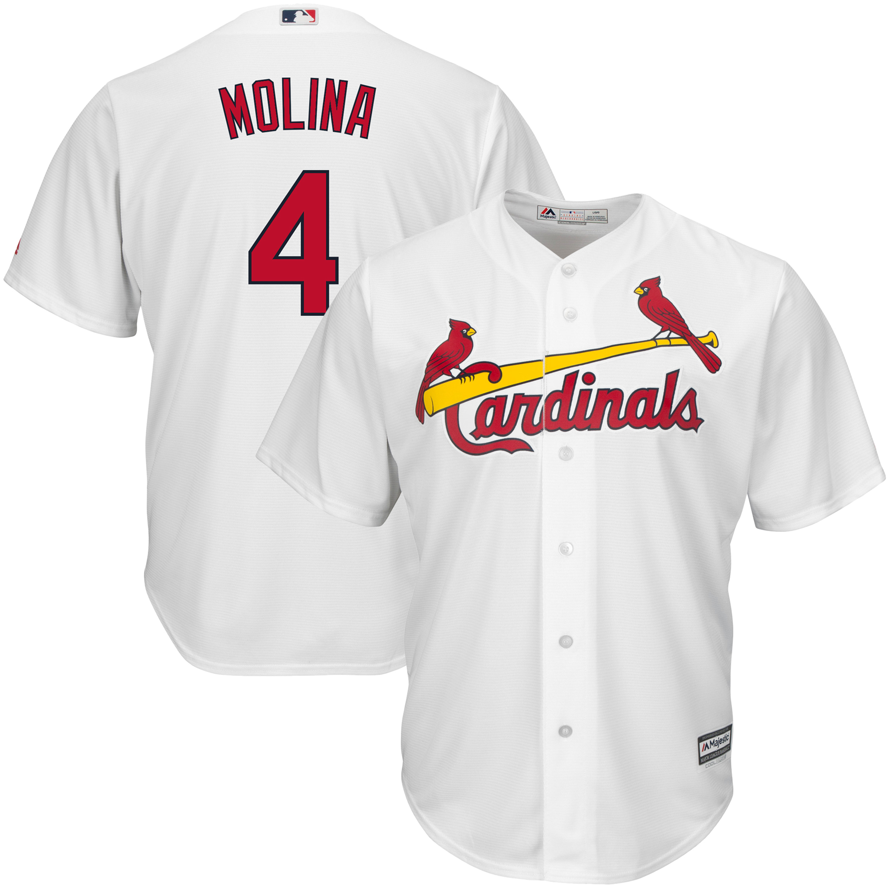 Yadier Molina Majestic Youth Official Cool Base Player Jersey - White