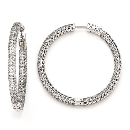 Ladies SS Polished Rhodium Plated Pave CZ 380 stones Hoop Earrings 5mm x 47mm