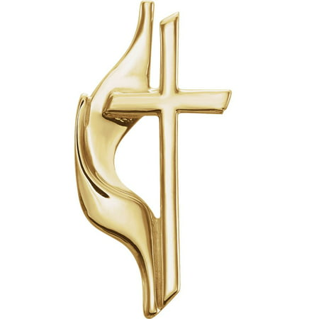 Jewels By Lux 10K Yellow Gold 19.00X10.00 mm Polished Methodist Cross Lapel Pin