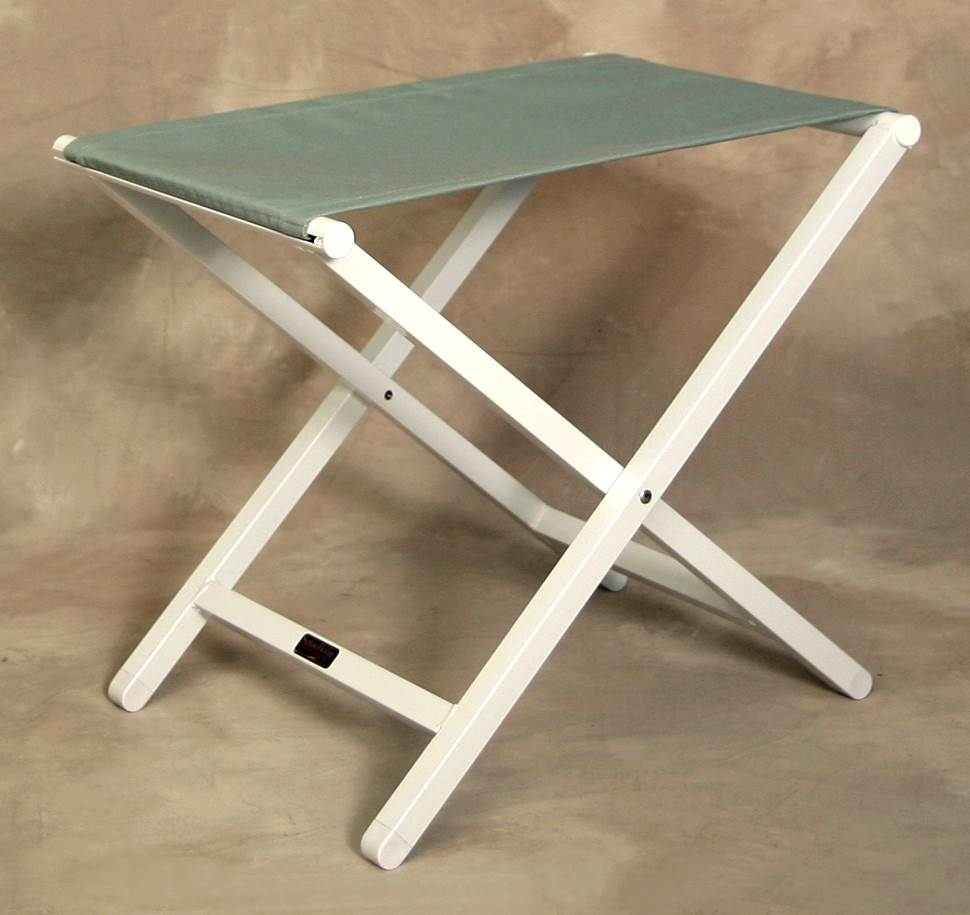 Large Monterey Folding Footstool in Spa w White Aluminum Frame